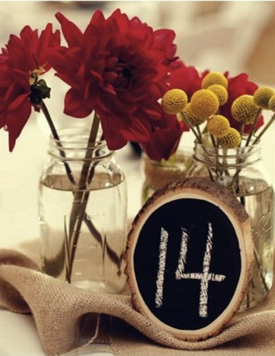 I love this DIY table marker idea. And jars for the flowers