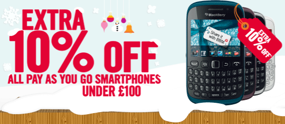Carphone Warehouse are now giving you an EXTRA 10% OFF ALL PAYG smartphones that cost under £100. Get the Nokia Lumia 610 for just £89.96 or the Blackberry Curve 9320 with BBM for just £98.96 http://www.phones4cash.co.uk/3/blog/post/496/carphone-warehouse-pay-as-you-go-promotion
