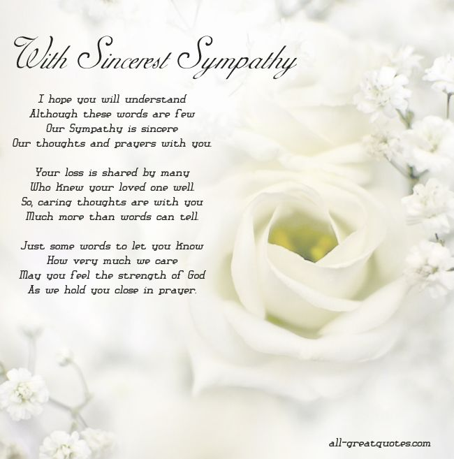 with sincerest sympathy to