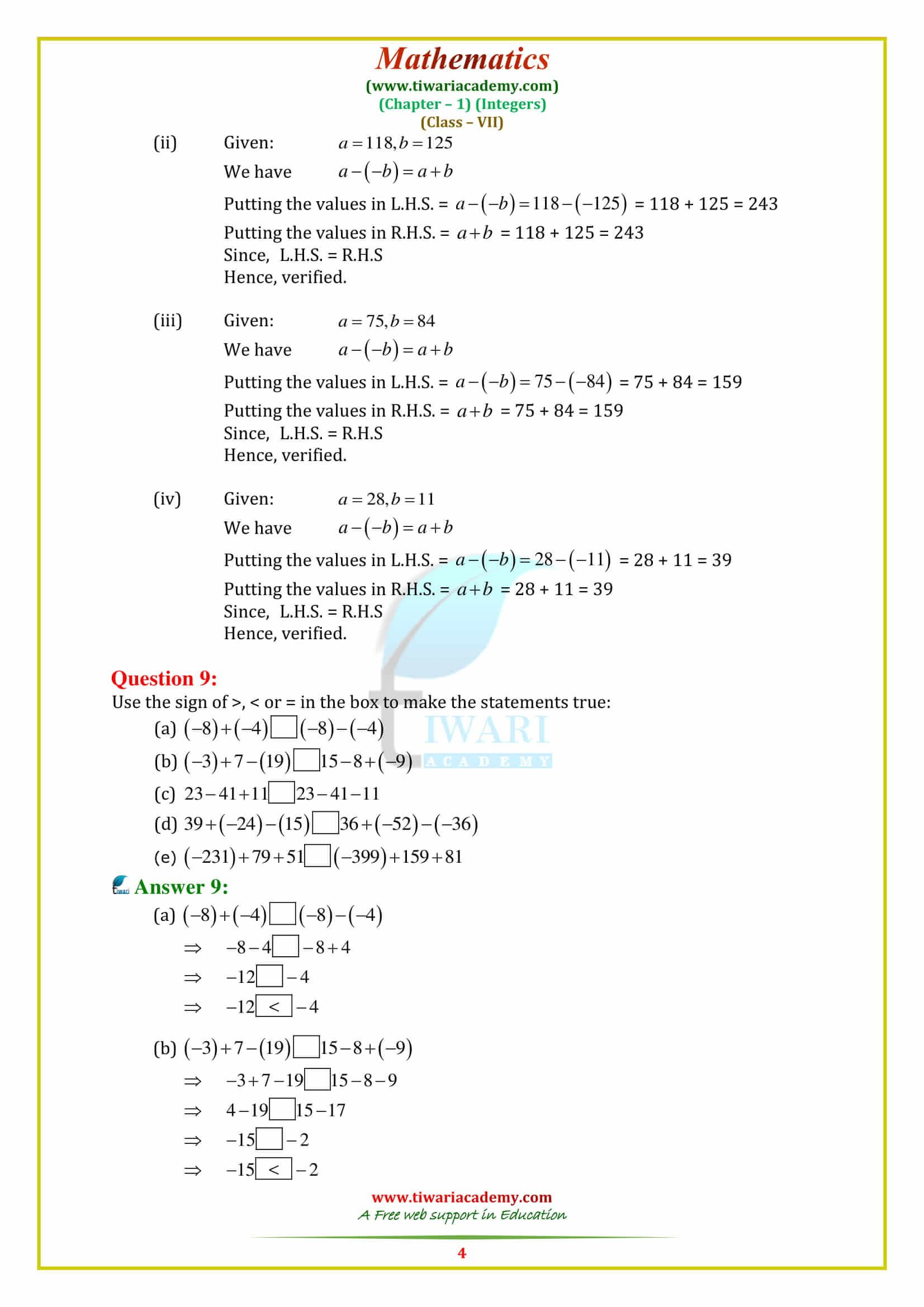 Ncert Solutions For Class 7 Maths Chapter 1 Integers
