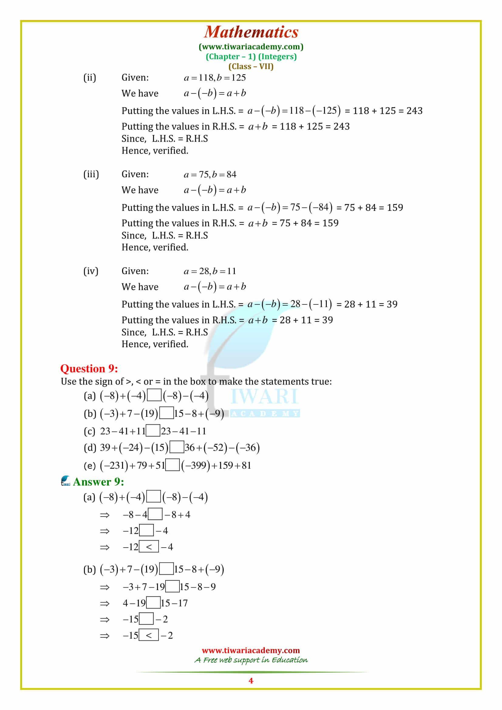 Ncert Solutions For Class 7 Maths Chapter 1 Integers