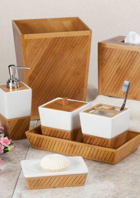 Creative Bath Spa Bamboo Bath Accessories 7 Piece Set Bamboo Bathroom Accessories Bamboo Bathroom Bathroom Accessories Sets