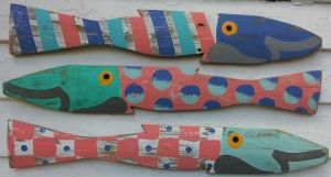 "Morning Glories Fence Fish S/3  $108  Outerbanktradingcompany  23"" long"