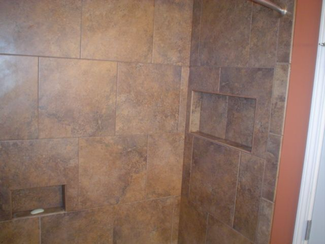 Tiled Shower With 18x18 Offset Pattern With Niche Shower Tile Shower Flooring