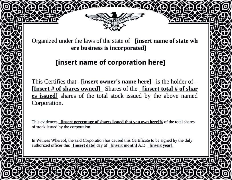 Stock Certificate Template Free PDF Format_002 , Stock Certificate - certificate templates word