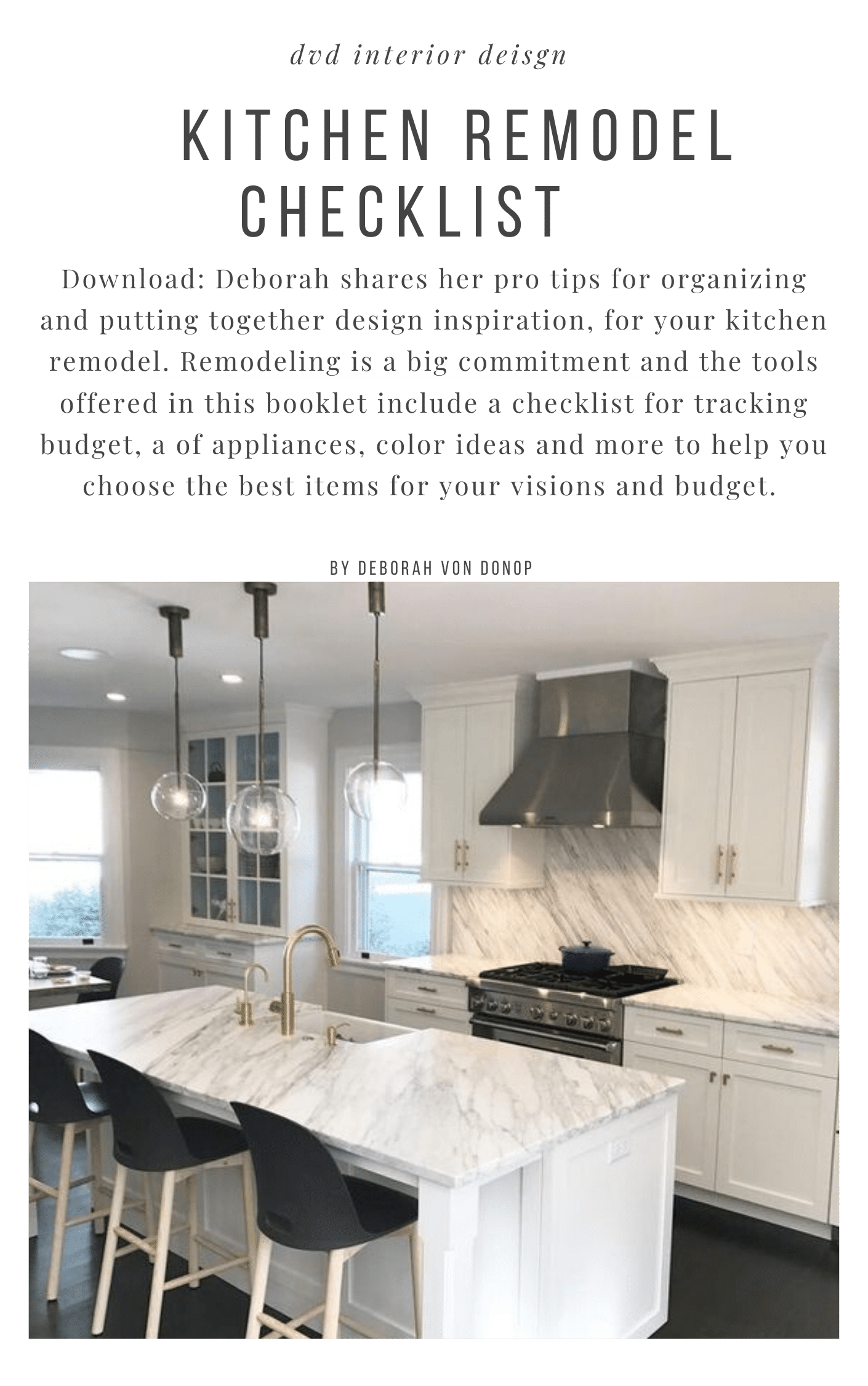 kitchen remodel project guide  downloadable checklist