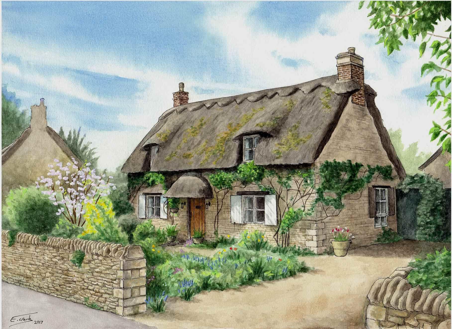 Cottage In Longthorpe Cottage Art Thatched Cottage Cottage