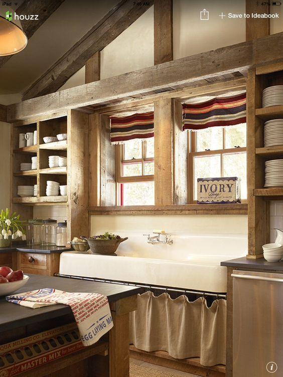 13 Cocina de obra con estantes con cortina | Cocinas Rústicas de ...