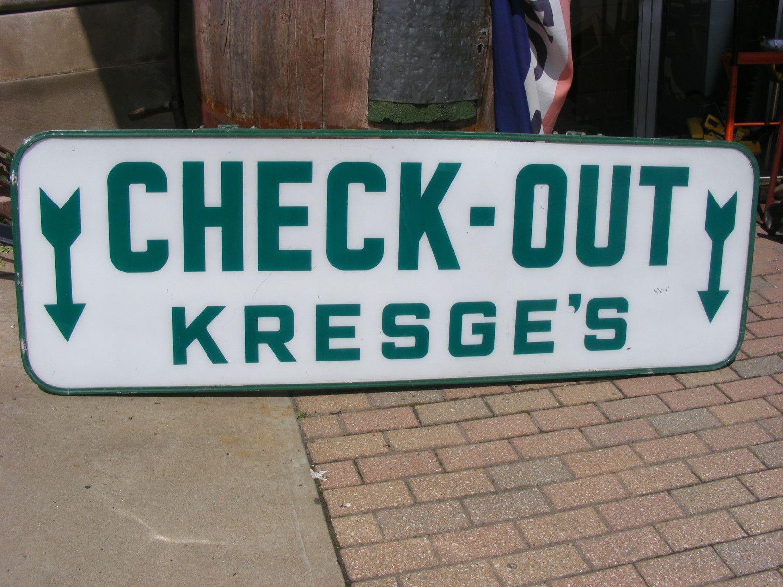 Vintage Original Kresge' Department Store Check Sign