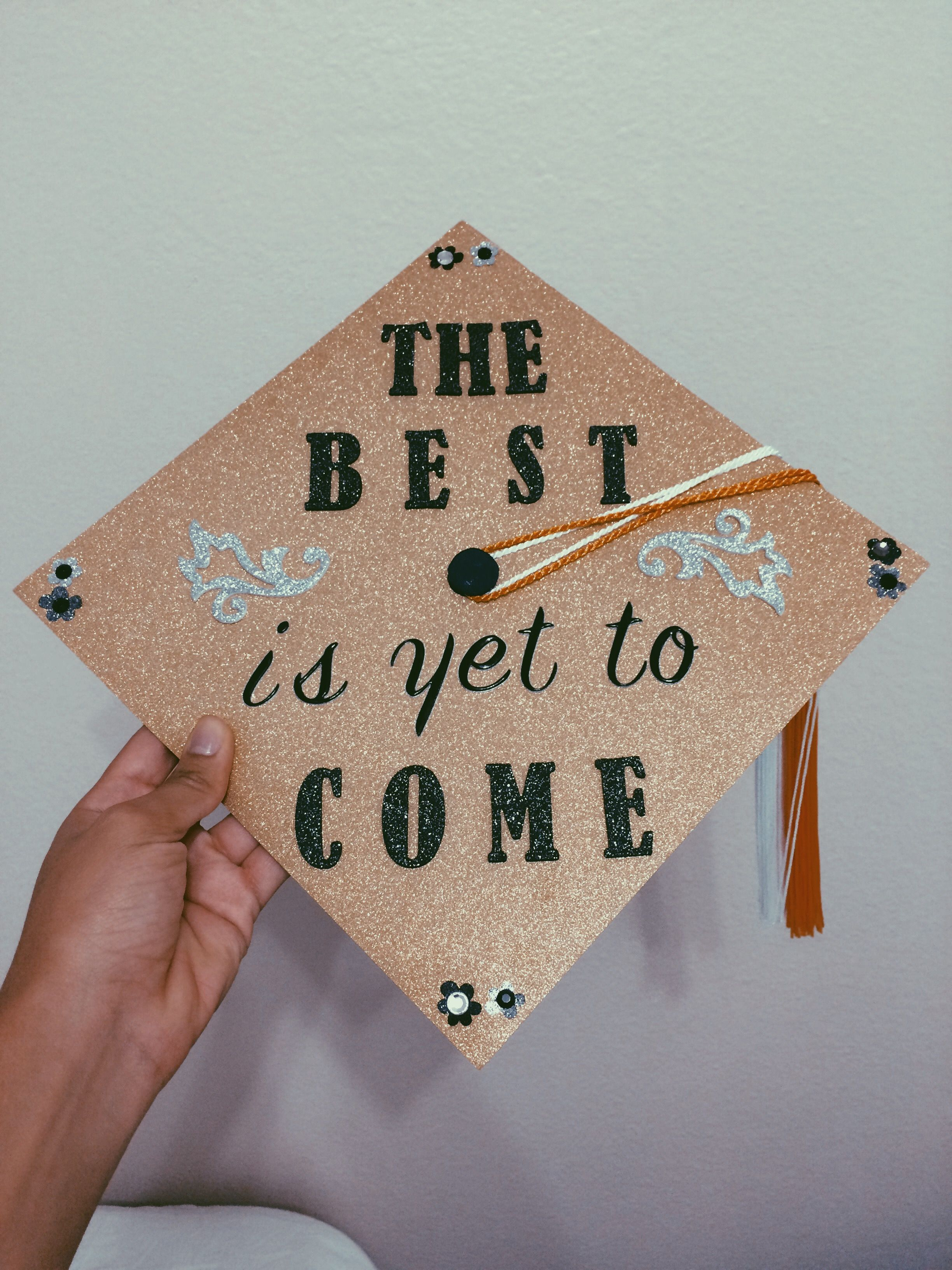 The best is yet to e graduation cap Gold glitter scrapbook paper