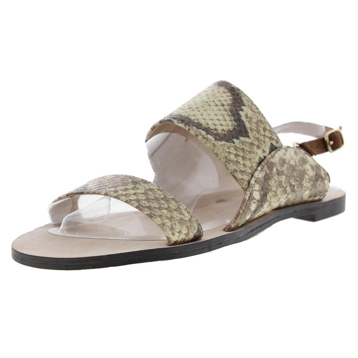 Zara Basic Womens Snake Print Flats Slingback Sandals