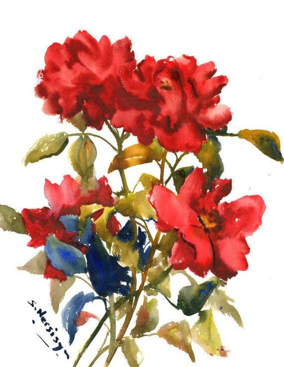 Dark Red Roses Deep Red Red Wall Art Original Watercolor