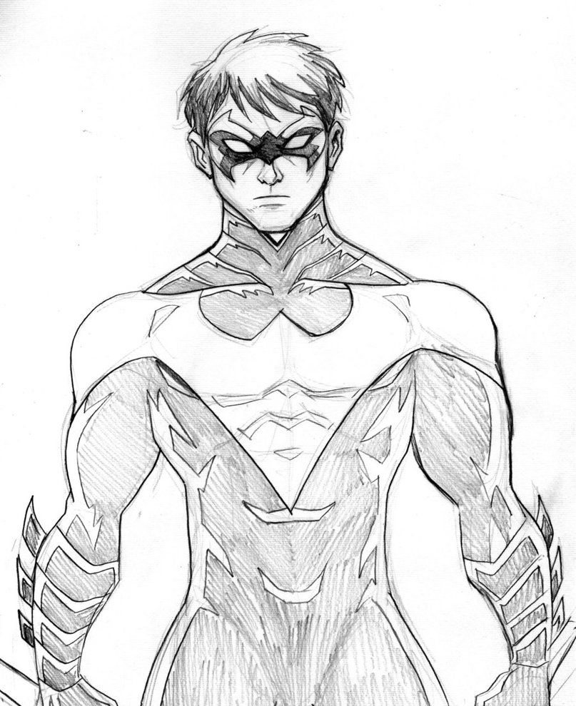 Nightwing Coloring Pages Printable Nightwing Character Drawing Robin Drawing