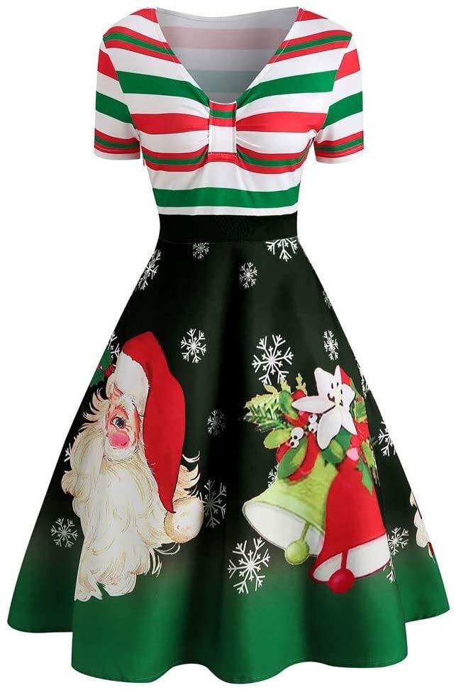 Xiangdanful Damen Kleider Weihnachten Abendkleid Christmas ...