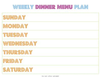 weekly family menu