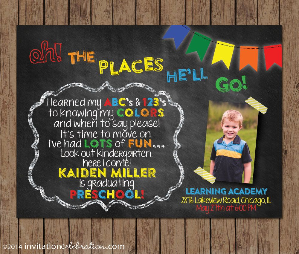 Dr seuss preschool graduation invitation kindergarten dr seuss preschool graduation invitation kindergarten chalkboard oh the places youll go choose digital file or printed wenvelopes filmwisefo