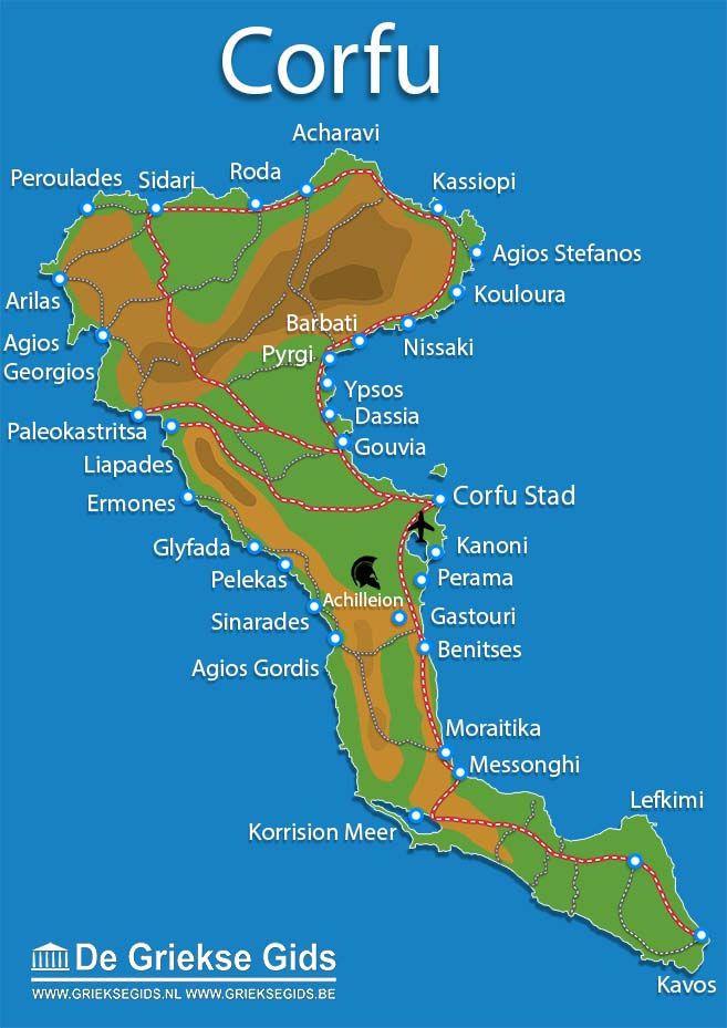 Landkaart Plattegrond Kaart Map Corfu Corfu Town Corfu