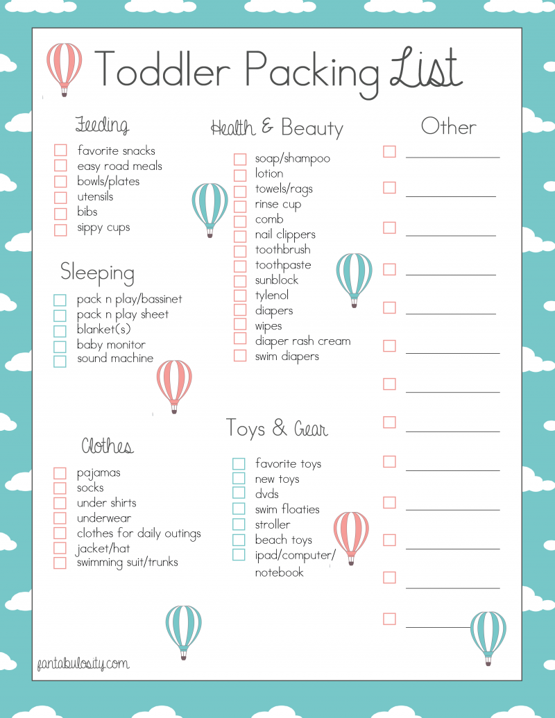 printable ultimate packing checklist on the side for women toddler travel packing list