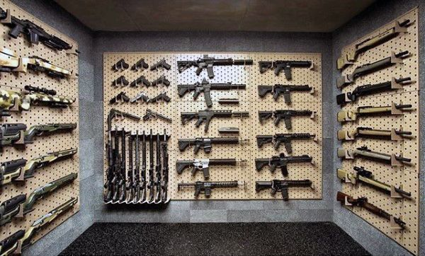 Clean Gun Room Design Ideas With Wall Shelves Awesome
