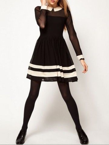 Skater Dress In Mesh With Contrast Detail - Choies.com