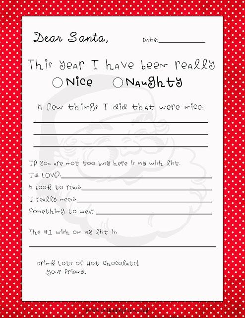Kids Free Printable Letter To Santa Craft Ideas  Holiday