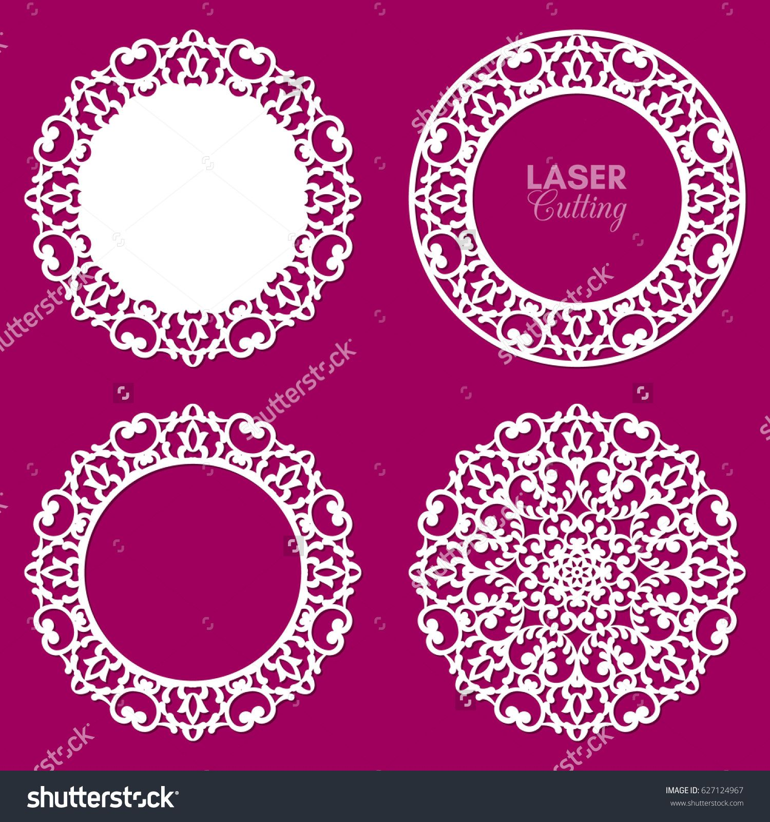 87a7be8314bb Laser cut vector frame collection. Set of abstract round frames with swirls