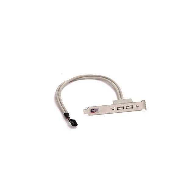 Supermicro CBL-0083L 0.4m 2-Port USB 2.0 Type A Female Cable w/ Bracket