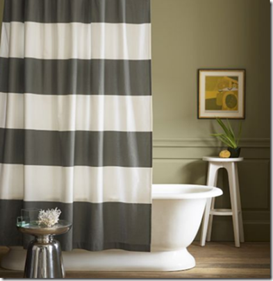 image thumb 2 striped curtain from shower curtains sewing projects tutorials pinterest. Black Bedroom Furniture Sets. Home Design Ideas