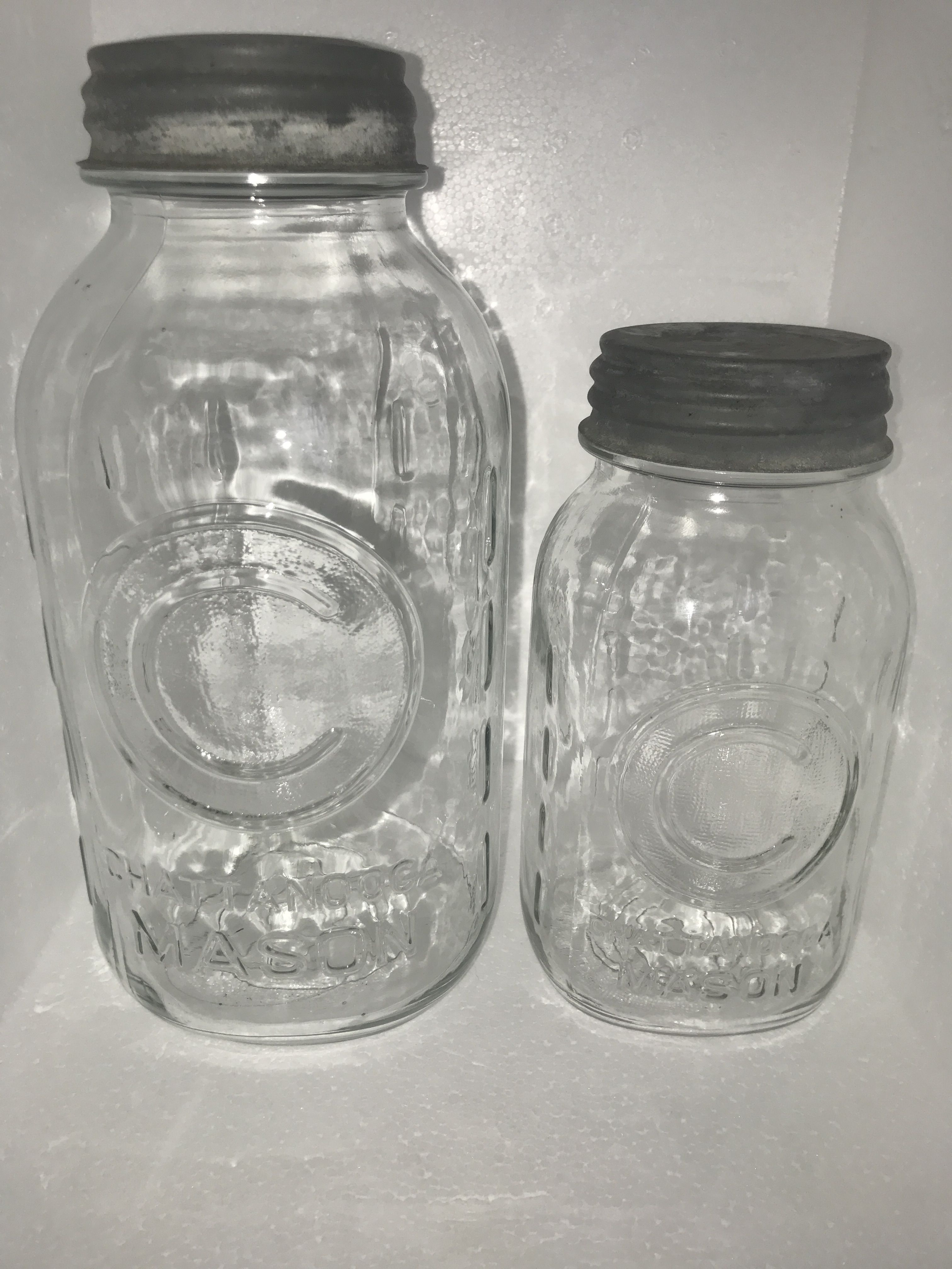A Set Of Very Interesting Jars These Chattanooga Masons Were Made In Chattanooga Tennessee Which Is Close To Home For Me Antique Fruit Jar Vintage Jars Jar