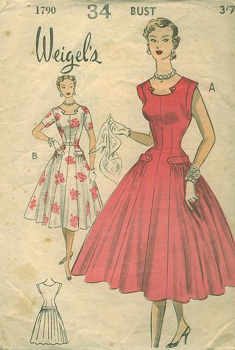 Weigel's 1790 - so pretty (love the neckline!). #vintage #1950s #dresses #sewing_patterns