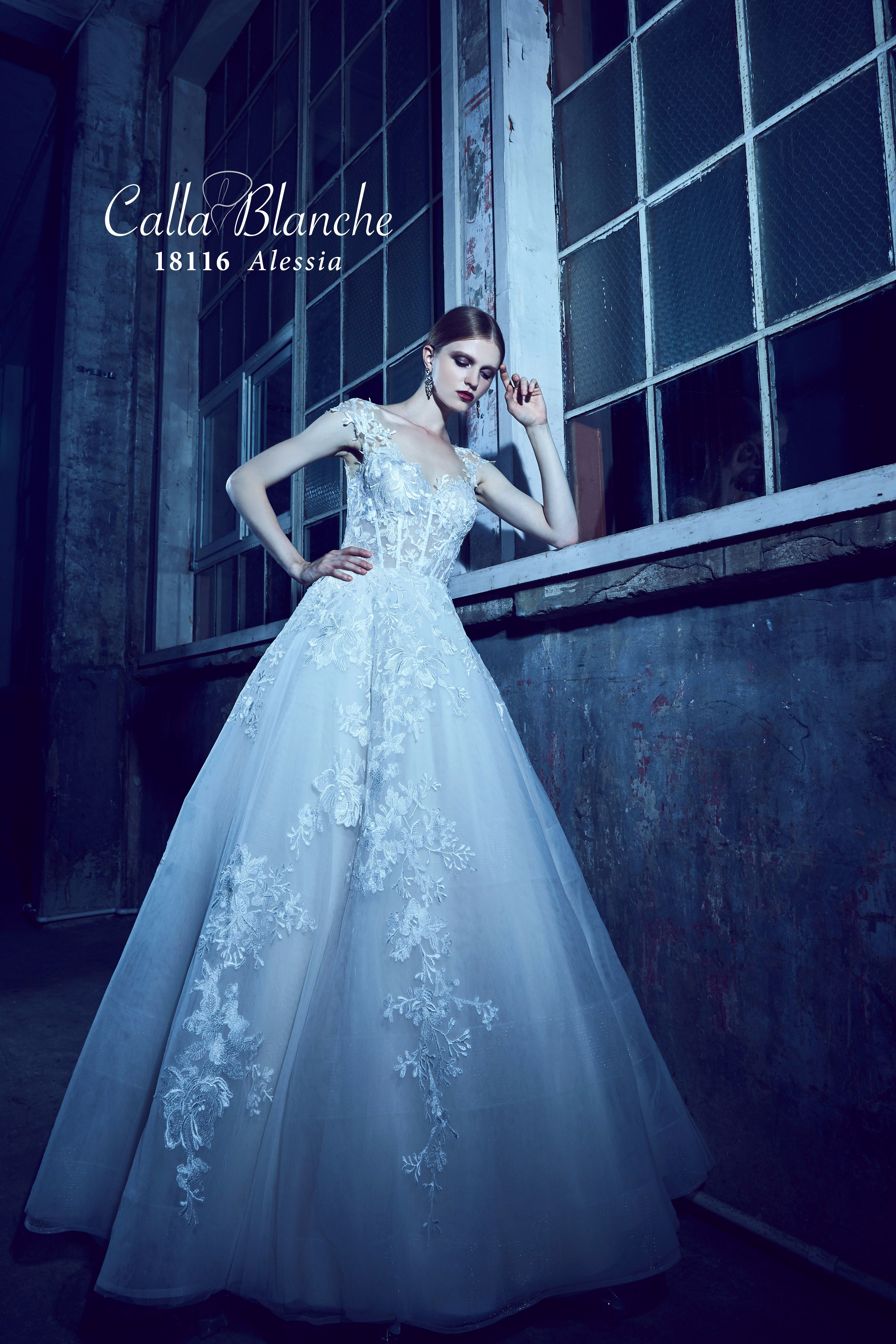 18116 Alessia Corset style sheer bodice covered in lace appliques ...