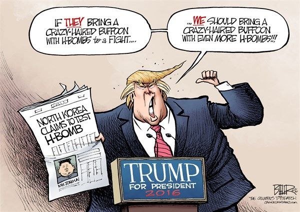 Image result for trump and kim 2016 cartoon