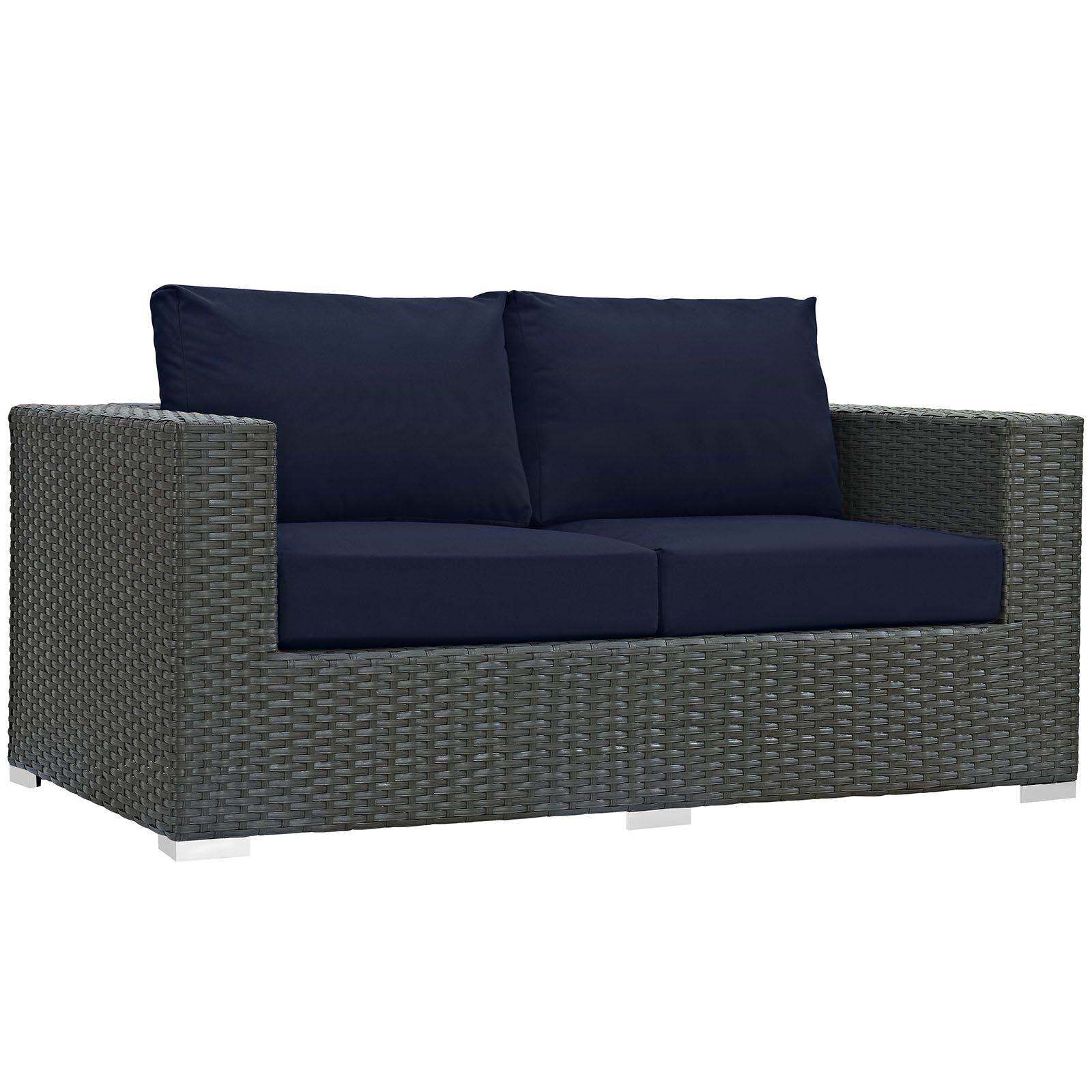 Awe Inspiring Modway Sojourn Wicker Outdoor Loveseat Canvas Navy Pabps2019 Chair Design Images Pabps2019Com