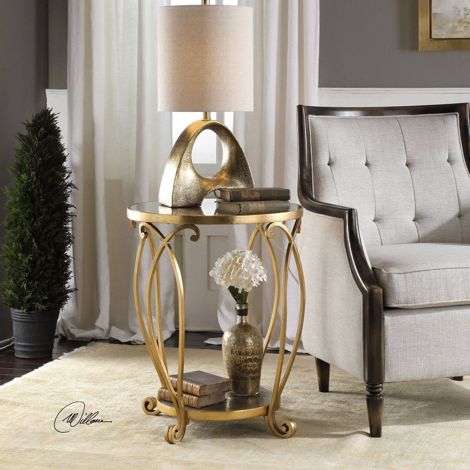 - Uttermost Martella Gold Accent Table Gold Accent Table, Living