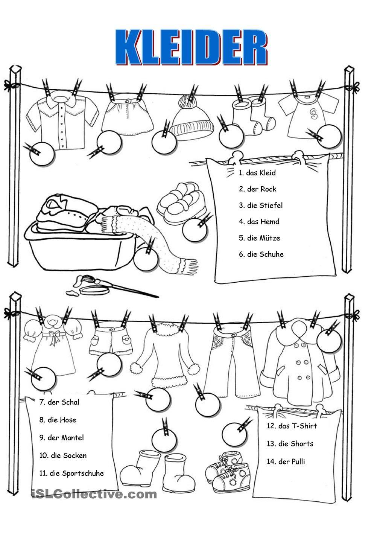 Kleider arbeitsblatt | Montessori | Pinterest | Arbeitsblätter ...