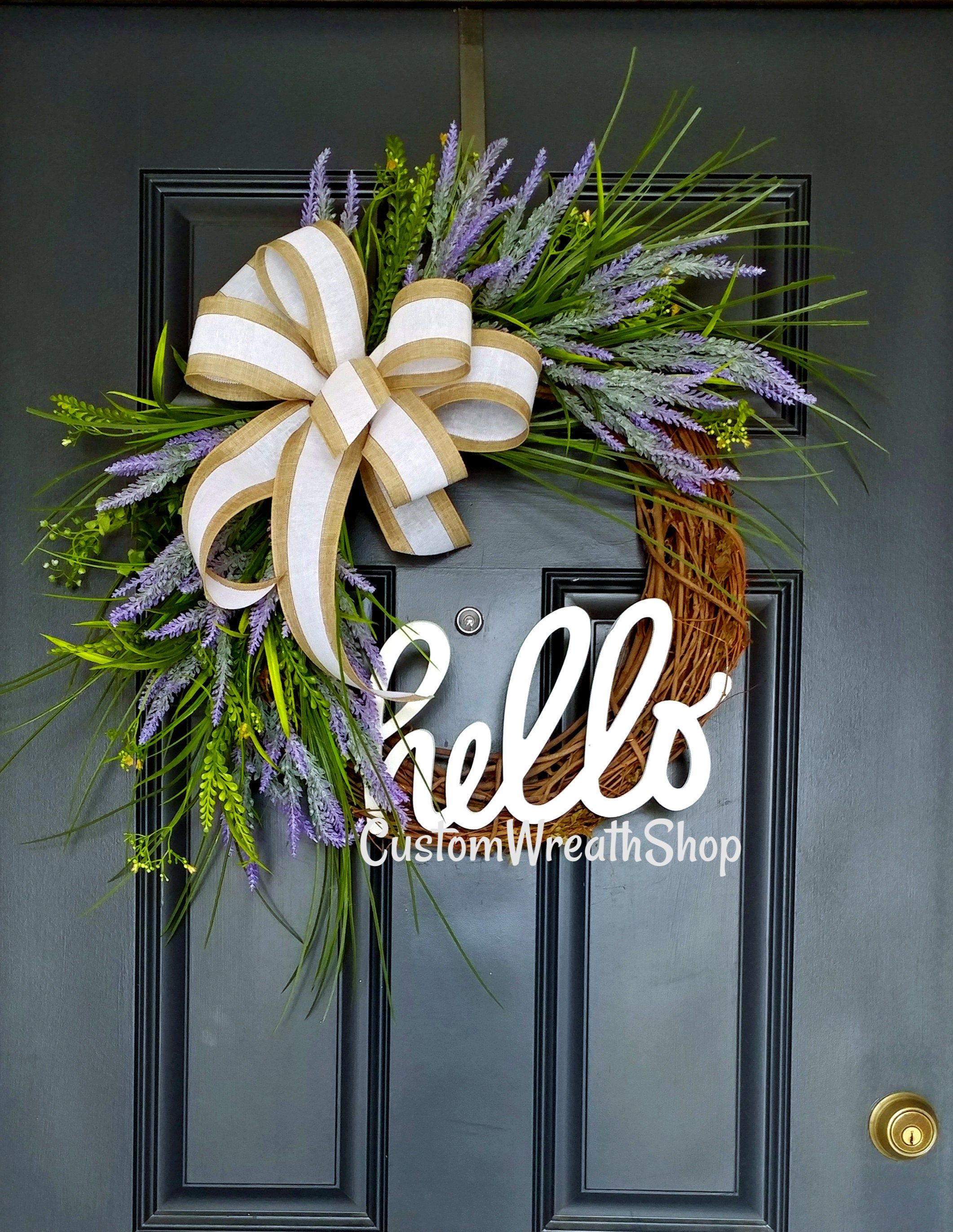 Photo of Lavender peasant wreath, year-round wreath, wreath for spring, custom wreath, door wreath, grapevine wreath, wreath with initial, housewarming party