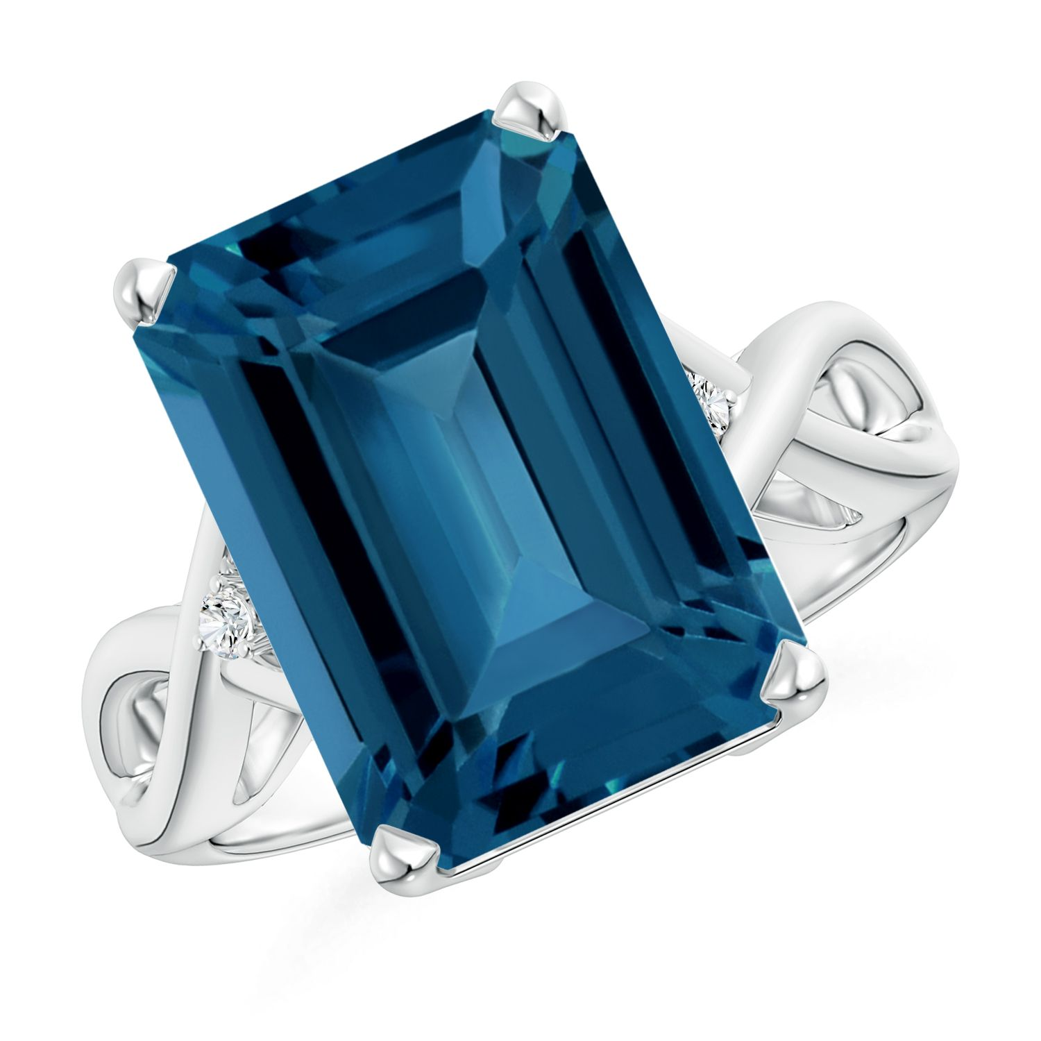 Angara Emerald-Cut London Blue Topaz Ring in Yellow Gold S4EpJSoxYR