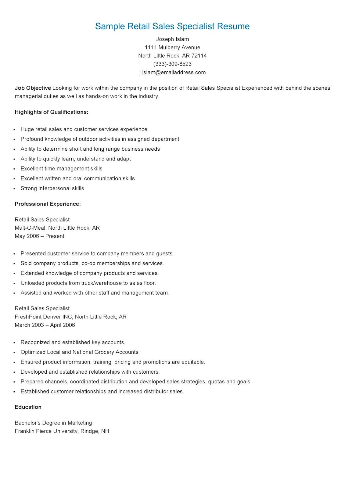 Sample Retail Sales Specialist Resume  Resume Retail Sales