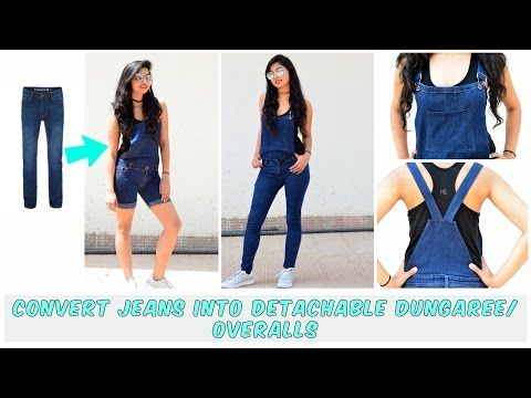 DIY: Convert Old Jeans Into Detachable DungareeOveralls