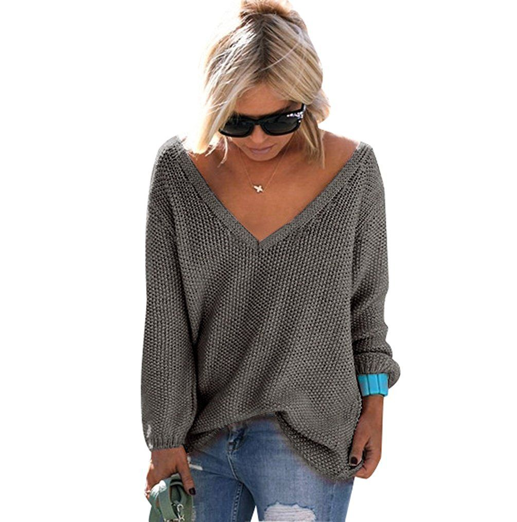 329e91979bc Pull Maille Femme Pull Tunique Oversize Manches Longues Col V Ample Chaud  Hiver Epais Pull Sweater