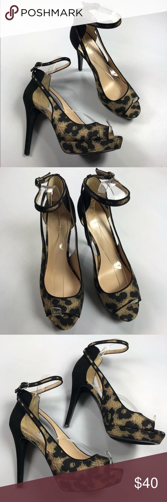 NWOT Nine West  Size 10 Cheetah Print Heels NWOT Gorgeous cheetah /leopard print heels. Aprox 4.5 inches. Strap with buckle, peep toe heel. Brand new, tags removed. Nine West Shoes Heels