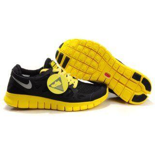differently 2e844 6503b Billig designer 2012 Menn Nike Free Run Plus 2 Svart Gul Sølv