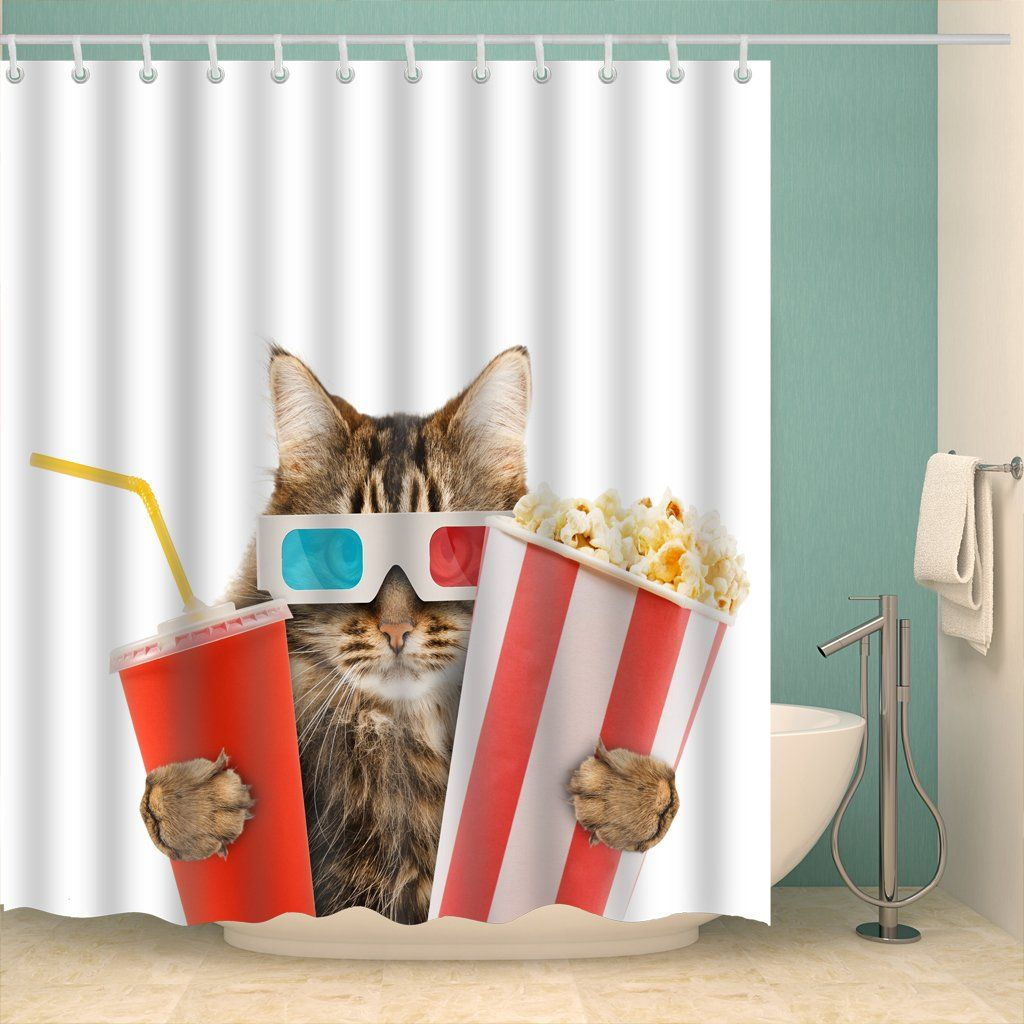 Cool Kitten Popcorn And Drink Watching Movie Shower Curtain Bathroom Decor