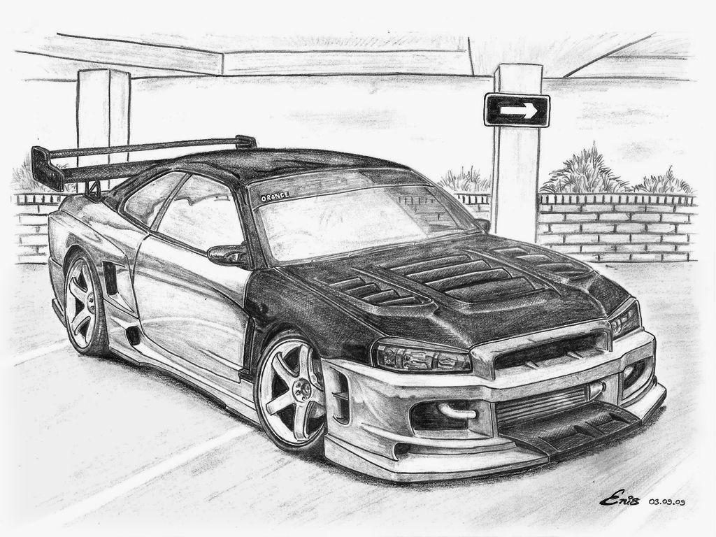 nissan skyline gtr r34 drawing