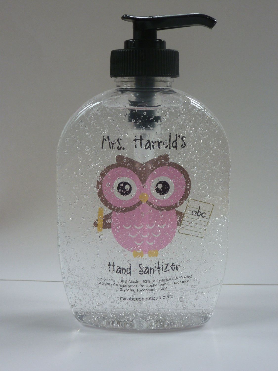 Colored Personalized Pink Owl Hand Sanitizer With Pencil And