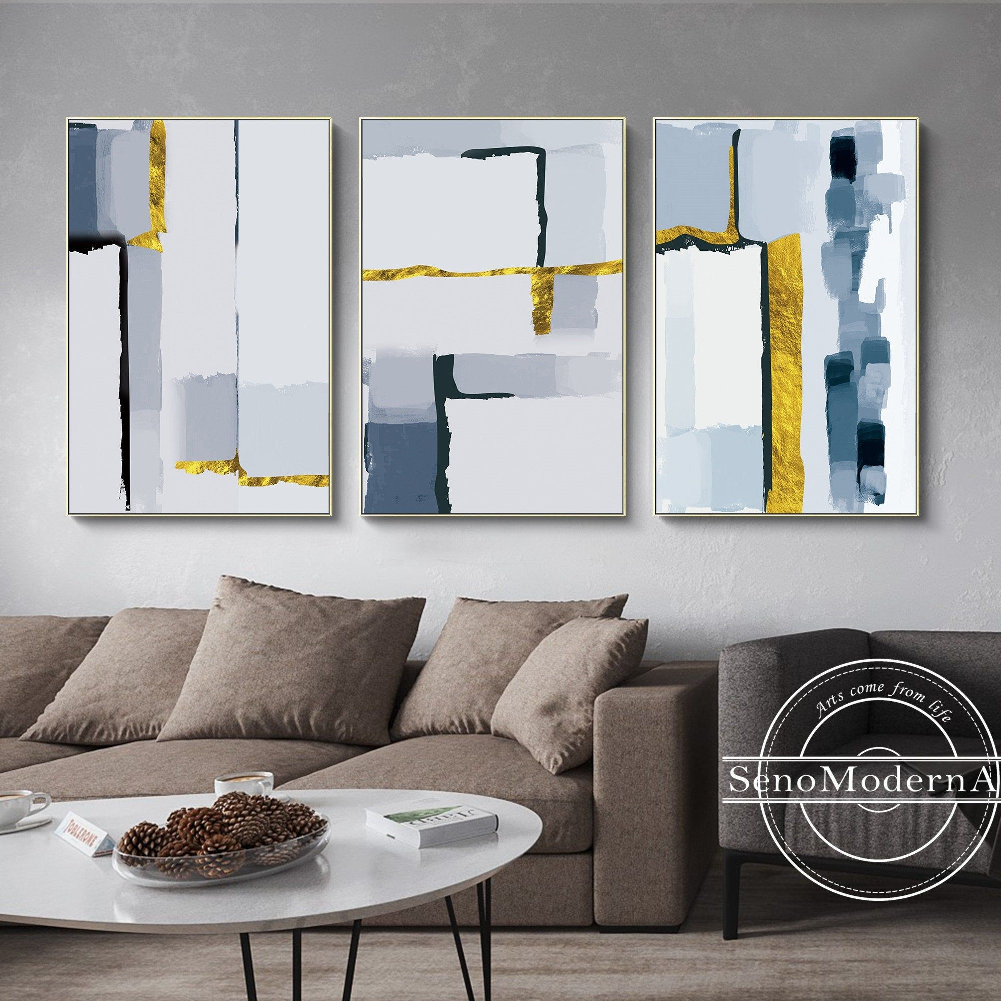 Set Of 3 Frame Wall Art Abstract Geometric Gold Navy Blue Black Print Painting On Canvas Wall Art Large Print Printable Wall Art Prints In 2021 Framed Wall Art Wall Printables