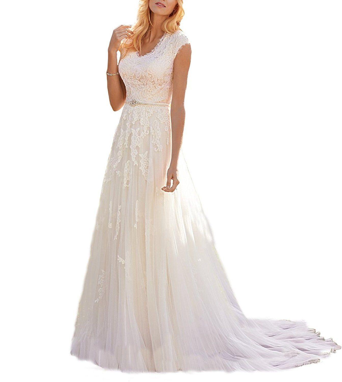Wedding dress patterns free  Mella Womenus Lace Vintage Beach Wedding Dresses for Bride