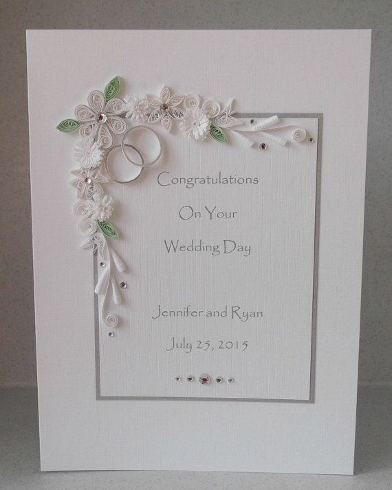 Quilled Wedding Day Congratulations Card Personalised Name And
