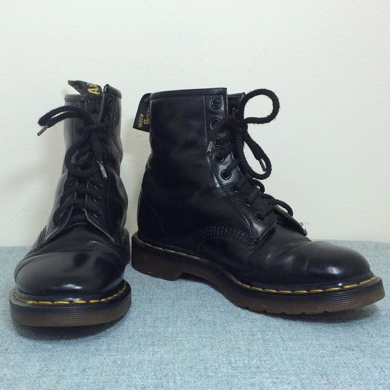 f9587adb9f682 Mens Vintage 90s Dr Martens Black Combat Boots / 8 Hole Lace Up Air ...