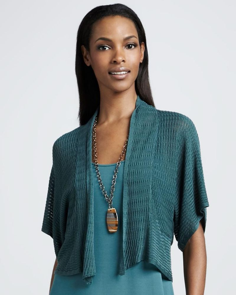 EILEEN FISHER Dragonfly Textured Knit Cropped Kimono Cardigan $228 ...